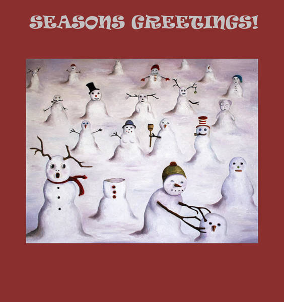 Painting - Seasons Greetings With Snowmen by Leah Saulnier The Painting Maniac