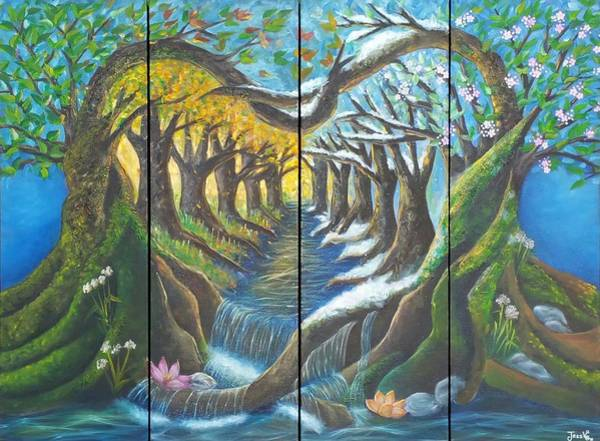 Primavera Painting - Seasons In Love by Jessica  Venzor