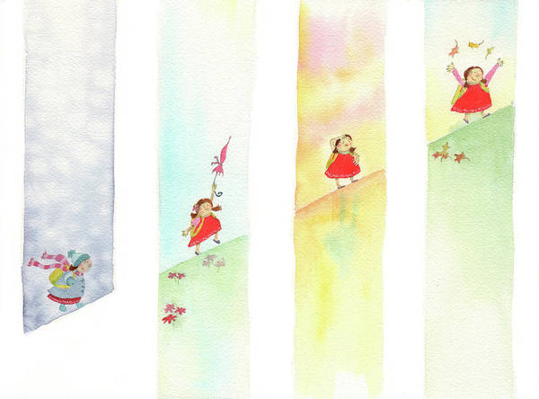 Wall Art - Painting - Skipping Through Seasons by Kristy Lankford