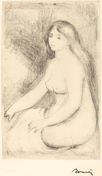 Nipples Drawing - Seated Bather - Baigneuse Assise by Auguste Renoir