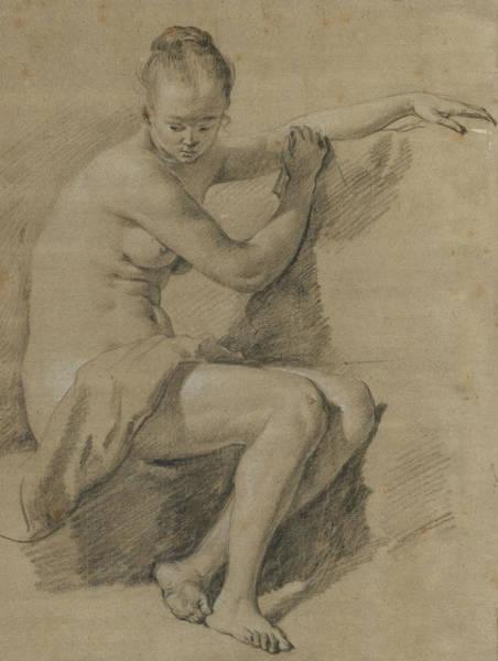 Nudity Drawing - Seated Female Nude by Adriaen van de Velde