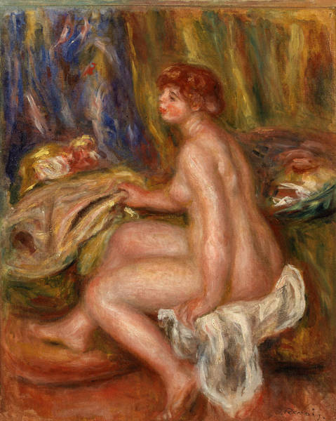 Wall Art - Painting - Seated Female Nude, Profile View by Pierre-Auguste Renoir