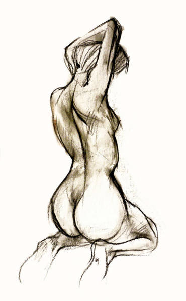 Nude Drawing - Seated Female Nude by Roz McQuillan
