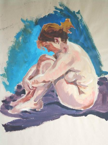 Painting - Seated Female Nude Wrapping Arms Round Legs by Mike Jory