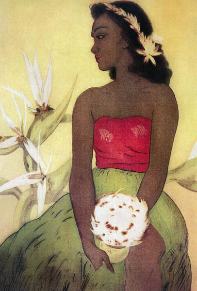 Wall Art - Painting - Seated Hula Dancer by Hawaiian Legacy Archives - Printscapes