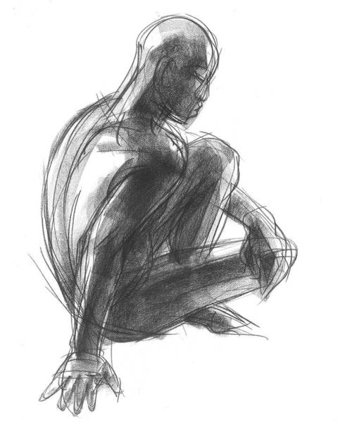 Drawing - Seated Male Figure Study by Judith Kunzle