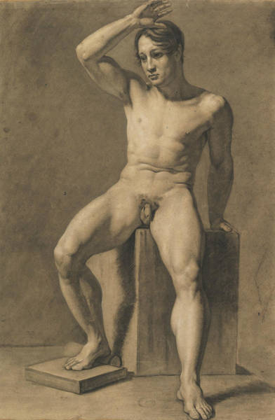 Male Nude Drawing - Seated Male Nude by Anselm Feuerbach