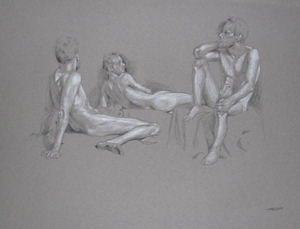 Painting - Seated Male Nude by Christopher Reid