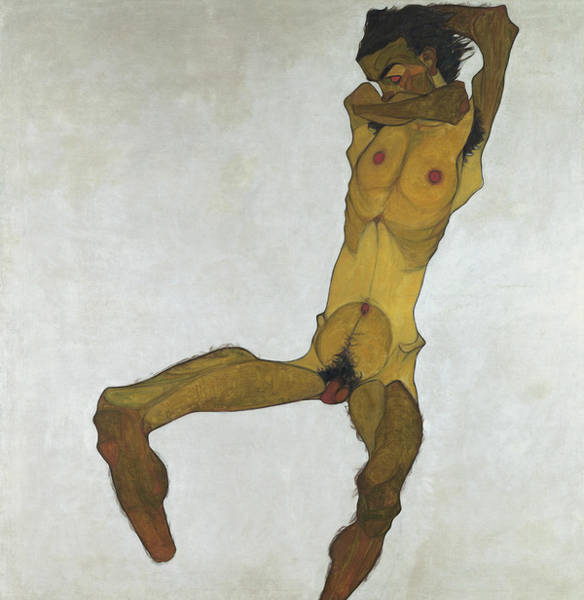 Painting - Seated Male Nude by Egon Schiele