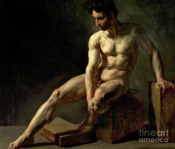 Wall Art - Painting - Seated Male Nude by Jean-Baptiste Edouard Detaille
