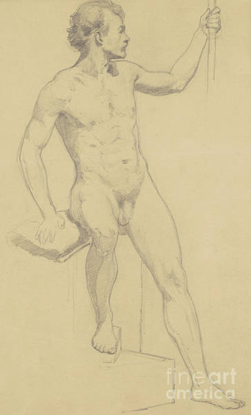 Male Nude Drawing - Seated Male Nude by Walter Shirlaw