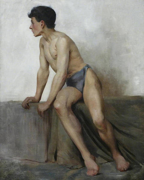 Painting - Seated Male Study by Henry Scott Tuke'
