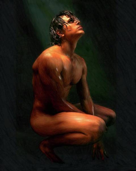 Painting - Seated Male Under A Light by Troy Caperton