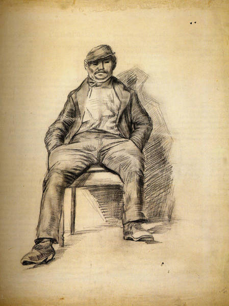 Crossed Legs Painting - Seated Man With A Moustache And Cap, 1886 by Vincent Van Gogh