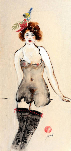 Seductive Painting - Seated Nude In Black Stockings With Flower And Bird by Susan Adams