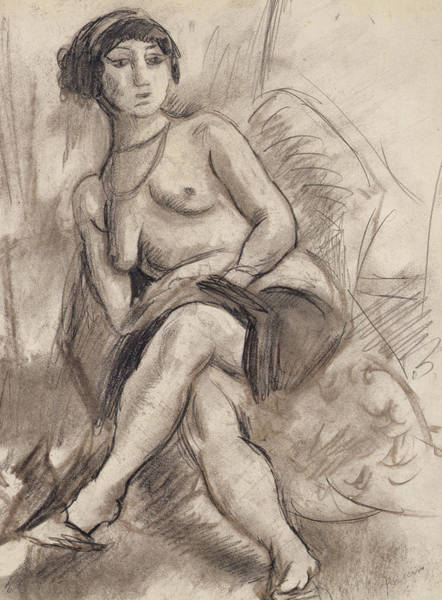 Model Drawing - Seated Nude Model by Jules Pascin