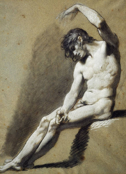 Shadows Drawing - Seated Nude by Pierre Paul Prudhon