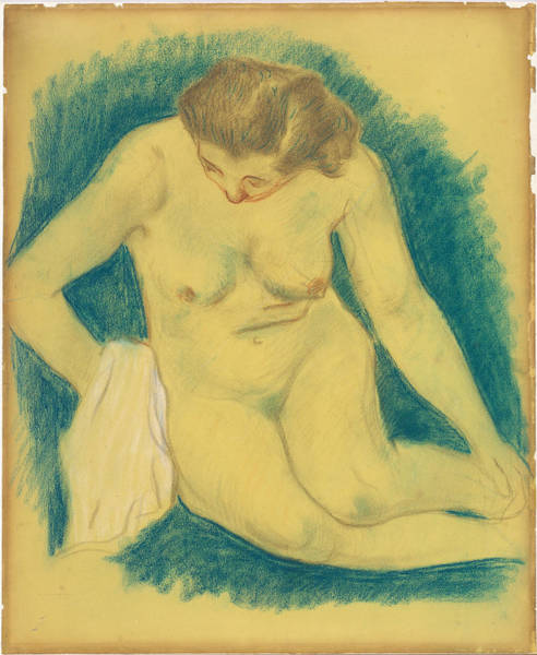 Wall Art - Drawing - Seated Nude Seen From Above by Paul Gauguin