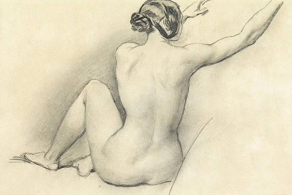 Nudity Drawing - Seated Nude by William Edward Frost