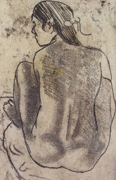 Beautiful Girl Drawing - Seated Tahitian Nude From The Back by Paul Gauguin