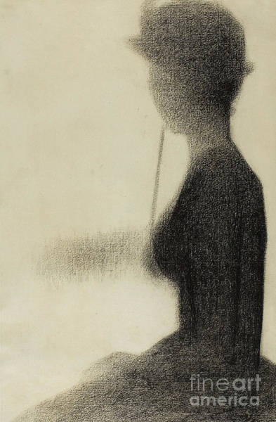 Sunday Afternoon Wall Art - Drawing - Seated Woman With A Parasol  by Georges Pierre Seurat