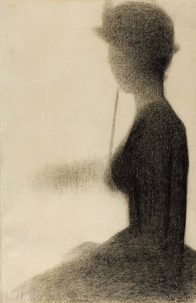 Crayon Drawing - Seated Woman With A Parasol Study For La Grande Jatte by Georges-Pierre Seurat