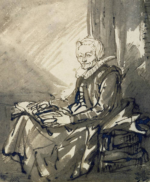 Drawing - Seated Woman With An Open Book On Her Lap by Rembrandt