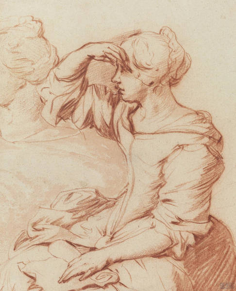 Crayon Drawing - Seated Woman With Her Hand Held Over Her Eyes by Adriaen van de Velde