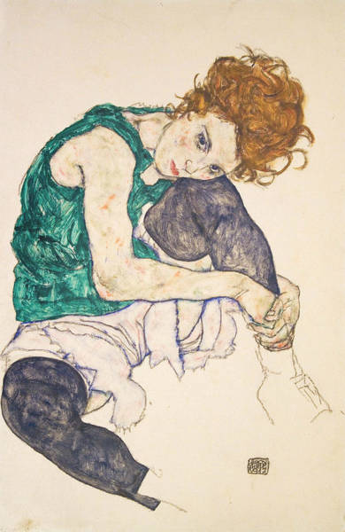 Austrian Drawing - Seated Woman With Legs Drawn Up by Egon Schiele