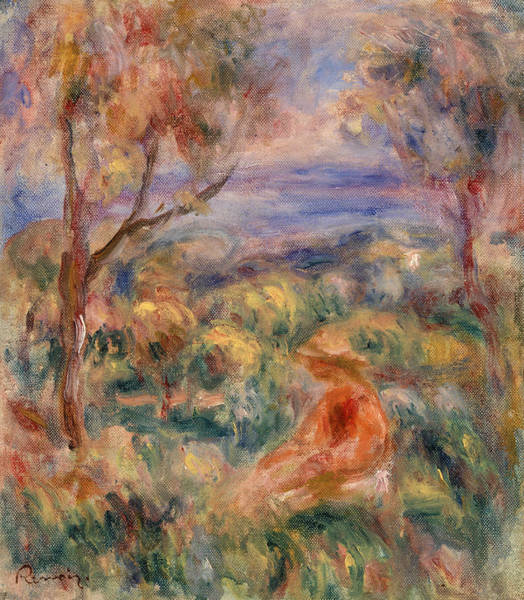 Rural Life Wall Art - Painting - Seated Woman With Sea In The Distance by Pierre-Auguste Renoir