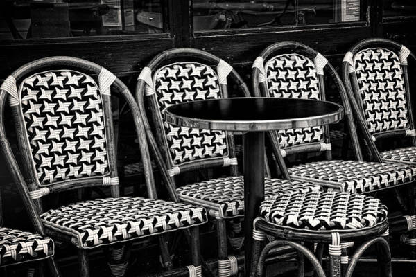 Sidewalk Cafe Photograph - Seats At A Paris Cafe by Andrew Soundarajan
