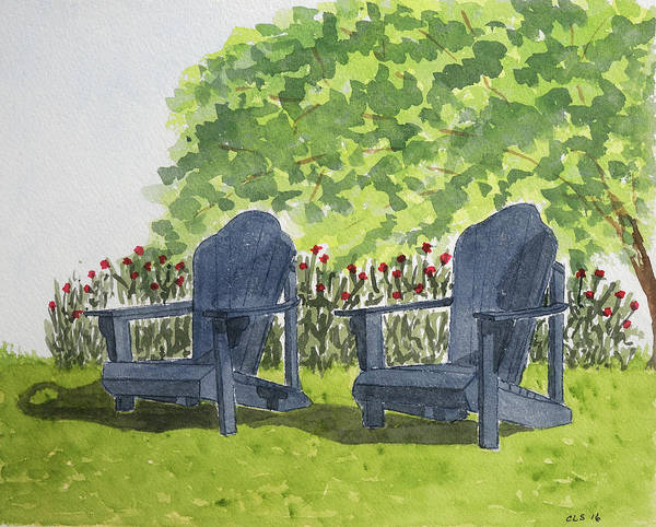 Meadowlark Painting - Seats For Two, Meadowlark Gardens, Vienna, Va by Cynthia Schoeppel
