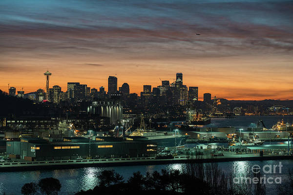 Seattle Skyline Photograph - Seattle And Pier 90 Sunrise by Mike Reid