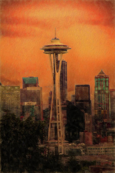 Mixed Media - Seattle At Sunset by Dan Sproul