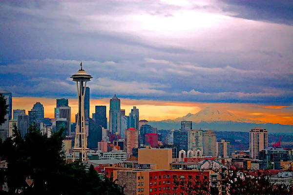 Mount Rainier Painting - Seattle At Sunset by Elaine Plesser