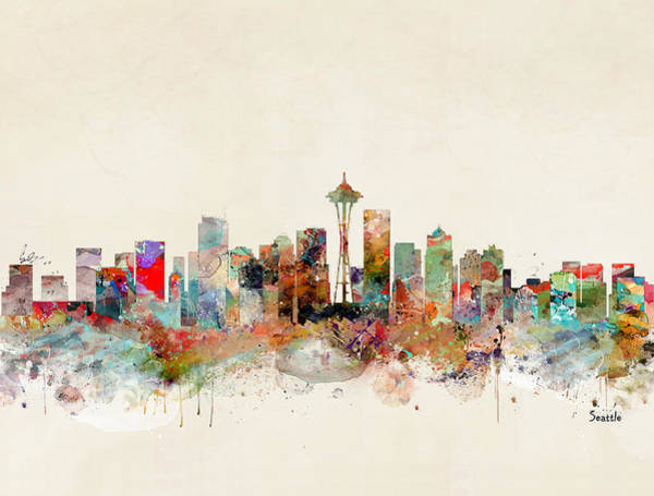 Watercolour Landscape Painting - Seattle City Skyline by Bri Buckley
