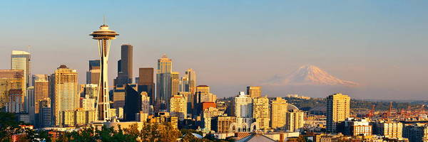 Photograph - Seattle City Skyline by Songquan Deng