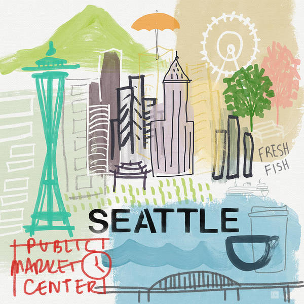 Pikes Place Wall Art - Painting - Seattle Cityscape- Art By Linda Woods by Linda Woods