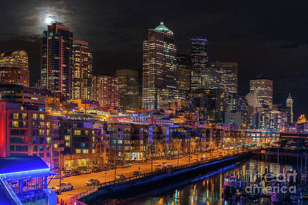 Seattle Skyline Photograph - Seattle Cityscape Full Moonrise by Mike Reid