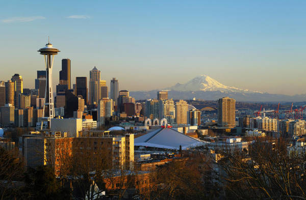 Mount Rainier Photograph - Seattle Cityscape by Greg Vaughn - Printscapes