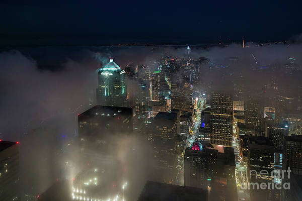 Elliot Bay Wall Art - Photograph - Seattle Downtown Fogscape by Mike Reid