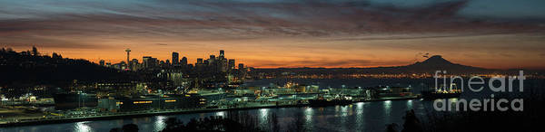 Seattle Skyline Photograph - Seattle Early Morning Sunrise Panorama by Mike Reid