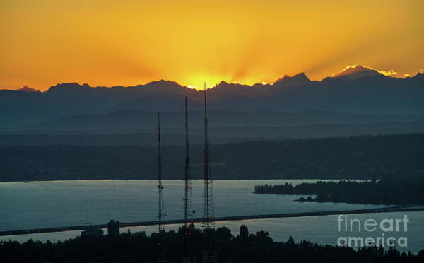 Wall Art - Photograph - Seattle Eastside Golden Sunrays Sunrise by Mike Reid