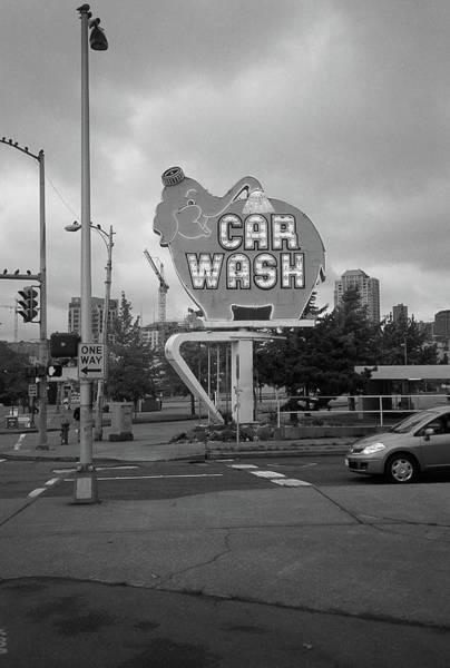 Photograph - Seattle - Elephant Car Wash Bw 2 by Frank Romeo