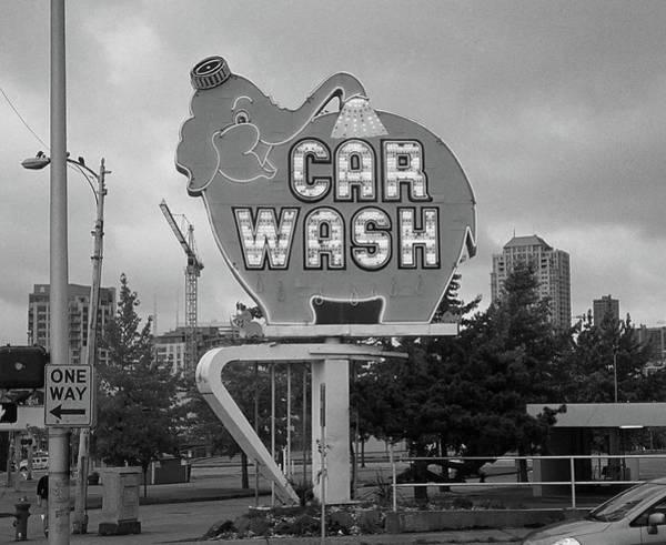 Photograph - Seattle - Elephant Car Wash Bw by Frank Romeo