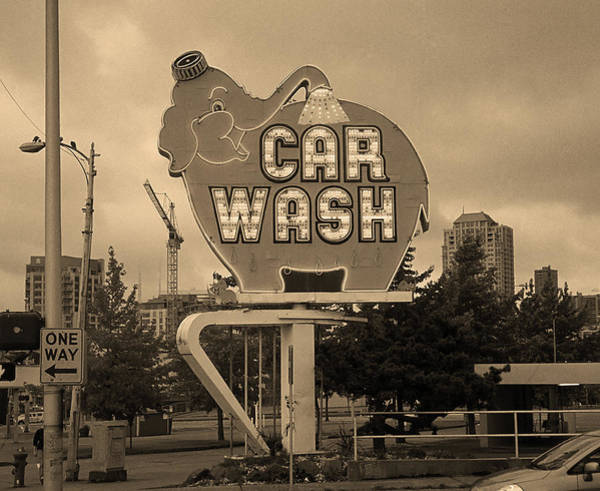 Car Wash Photograph - Seattle - Elephant Car Wash Sepia by Frank Romeo
