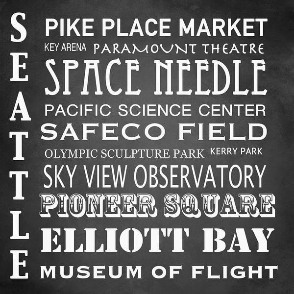 Washington Square Park Wall Art - Digital Art - Seattle Famous Landmarks by Patricia Lintner