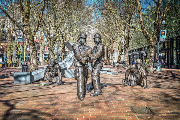 Wall Art - Photograph - Seattle Fire Department Statue by Spencer McDonald
