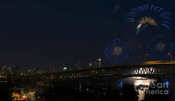 Wall Art - Photograph - Seattle Fireworks by Mike Dawson