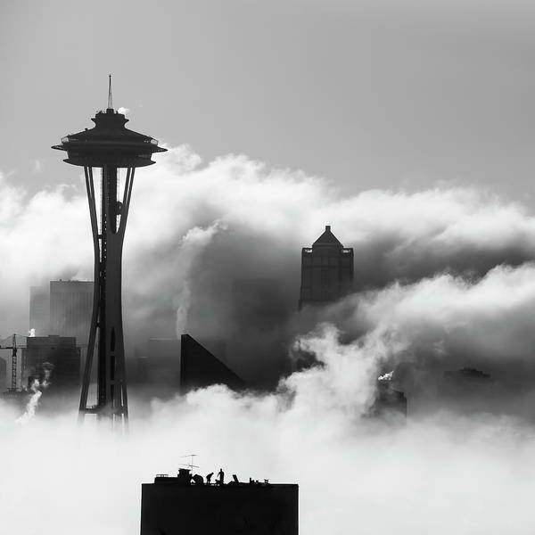 Photograph - Seattle Fog Square by Kyle Wasielewski